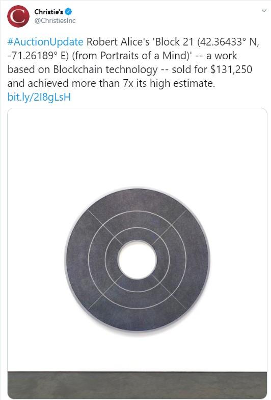 Christie's Auction House vende NFT Crypto Art 'Block 21' por más de $ 130K