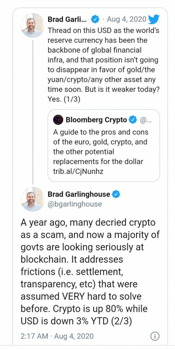 CEO de Ripple: los gobiernos globales ahora ven la solución Blockchain para abordar la transparencia y la liquidación