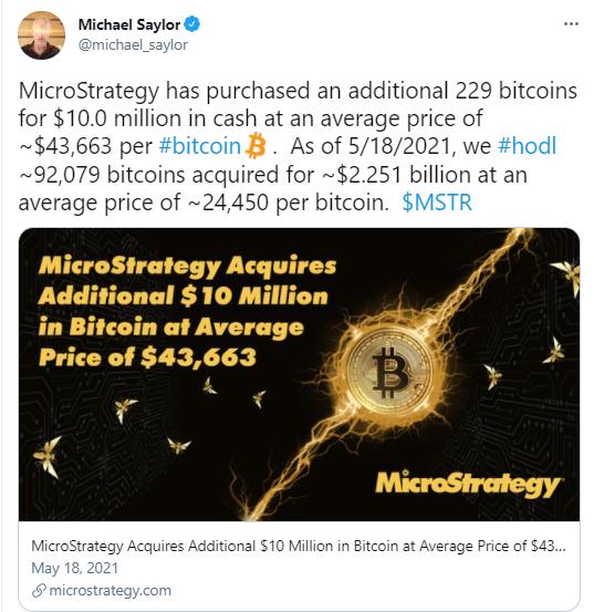 MicroStrategy obtiene 229 BTC adicionales por valor de $ 10 millones