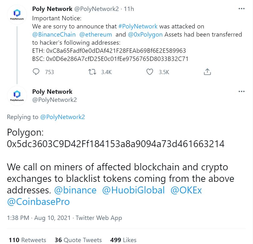 Hack de DeFi más grande registrado en Poly Network con $ 610 millones robados